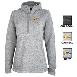 WOMEN'S HEATHERED FLEECE QUARTER ZIP HOODIE